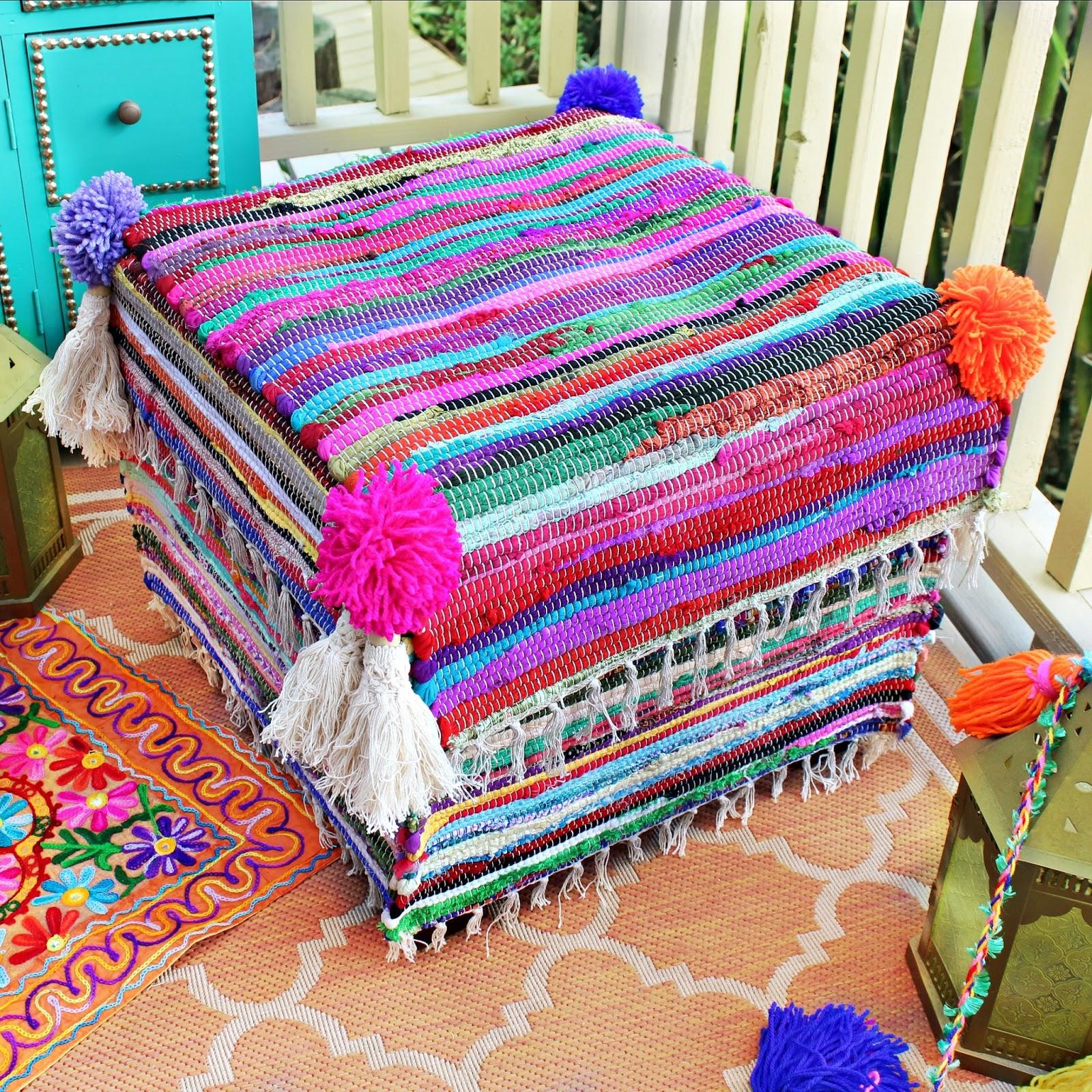 Sensational Mark Montano No Sew Rag Rug Ottoman Makeover Machost Co Dining Chair Design Ideas Machostcouk