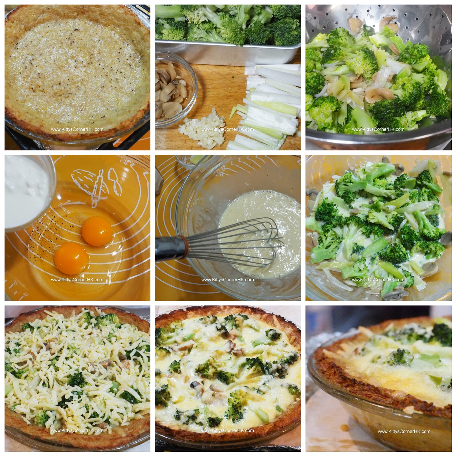 Broccoli and Cheese in Crispy Potato Crust DIY recipe  西蘭花芝士香脆薯底批 自家烘焙食譜