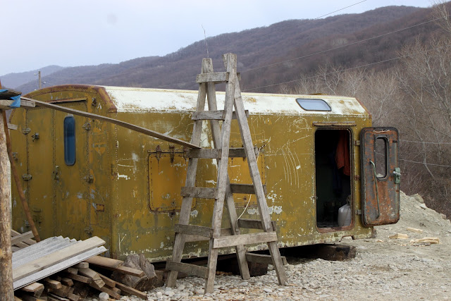 Ex Soviet army carriers are often used as housing. georgia
