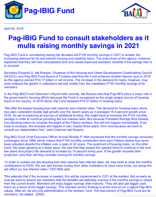 Pag-IBIG Fund to consult stakeholders as it mulls raising monthly savings in 2021