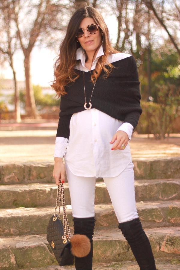 Crop jersey, look premama, pregnancy style, look blanco y negro