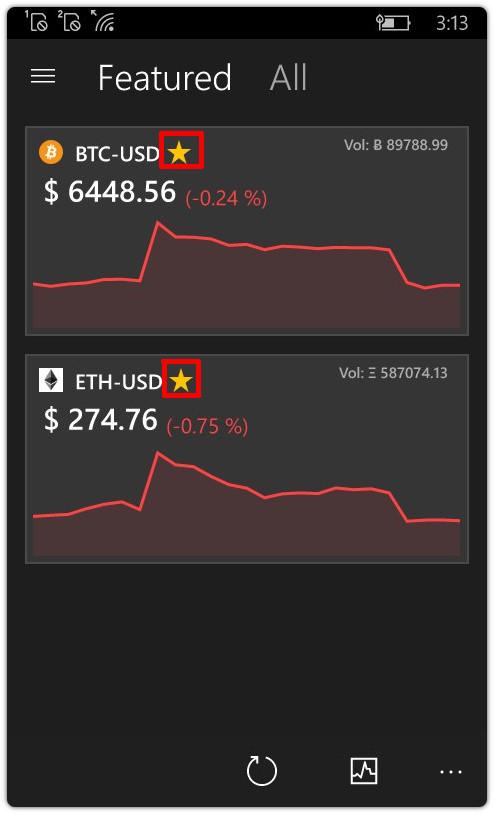 Acompanhar preço de criptomoedas no Windows Phone