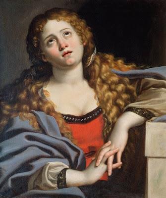 Cuadro de Santa Maria Magdalena con vestido rojo y manto azul.