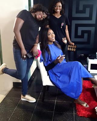 "Moving On!! Tiwa Savage spotted on the set of Funke Akindele's series ""Jenifa's Diary"""