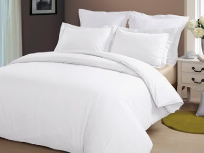 Fancy TC Cotton White Bedding Set