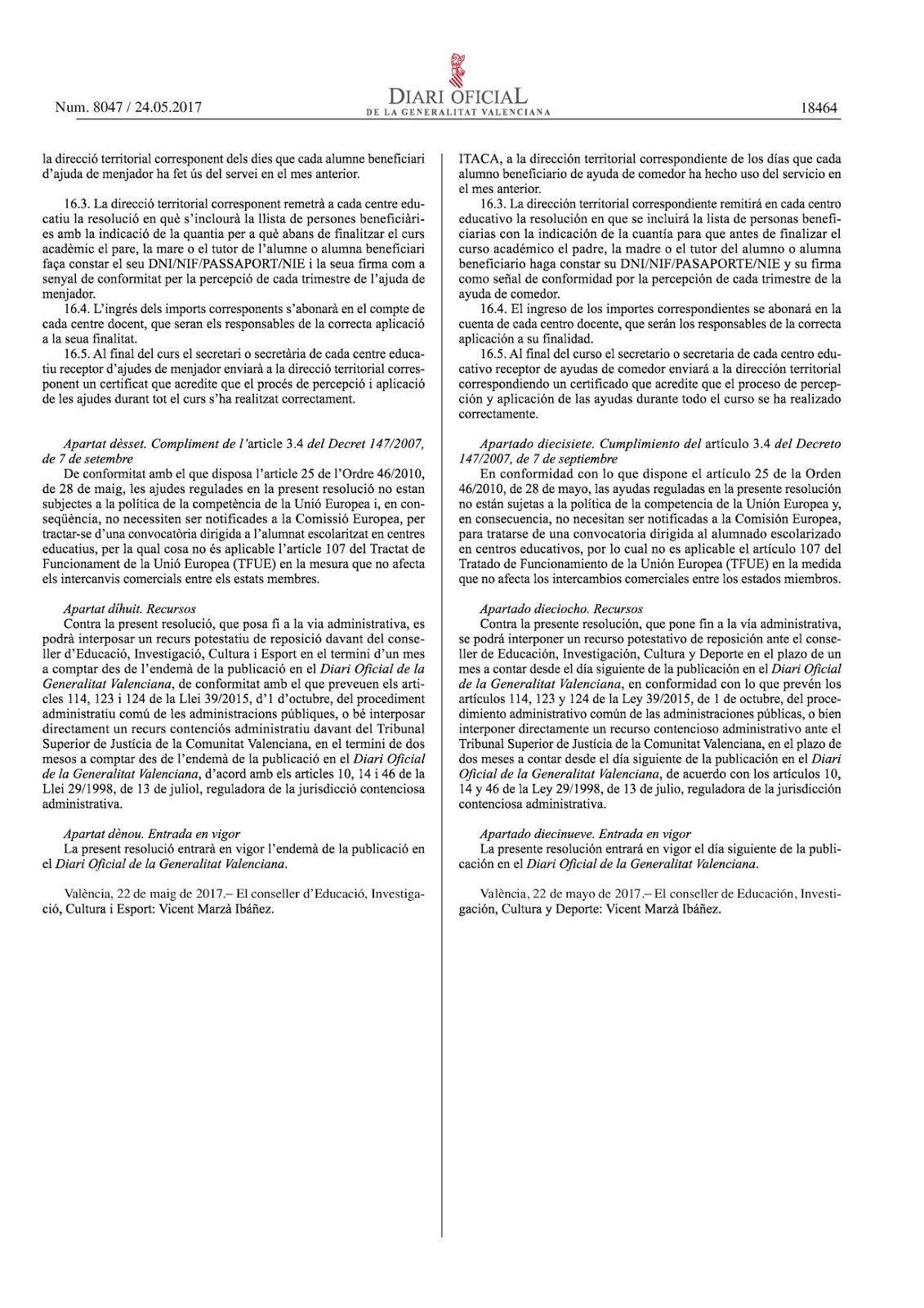 AMPA CAMPANAR: AYUDAS COMEDOR ESCOLAR 2017-2018