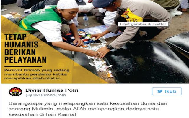 """Bantu Umat Islam Saat Aksi Bela Ulama 161, Netizen Ucap """"Terimakasih Pak Polisi"""""""