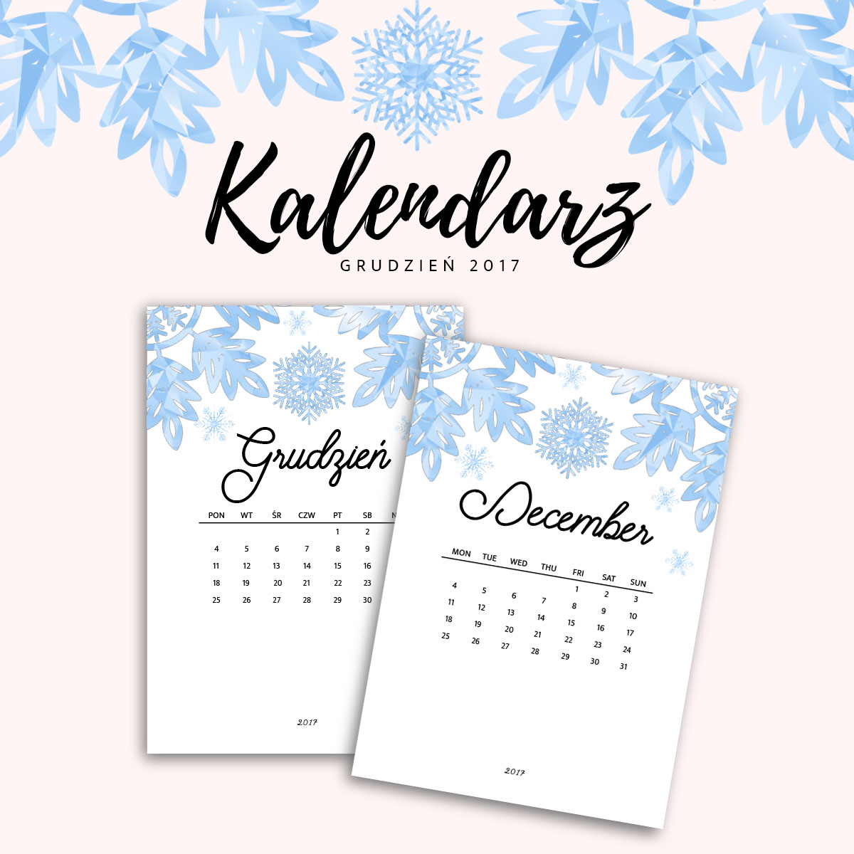 Kalendarz do druku - GRUDIZEŃ 2017 {do pobrania za darmo}