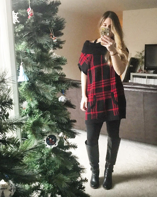 Thrifted Plaid Top, Leggings, Boots