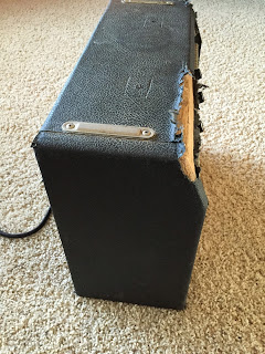 Beach up Fender Champ amp side view