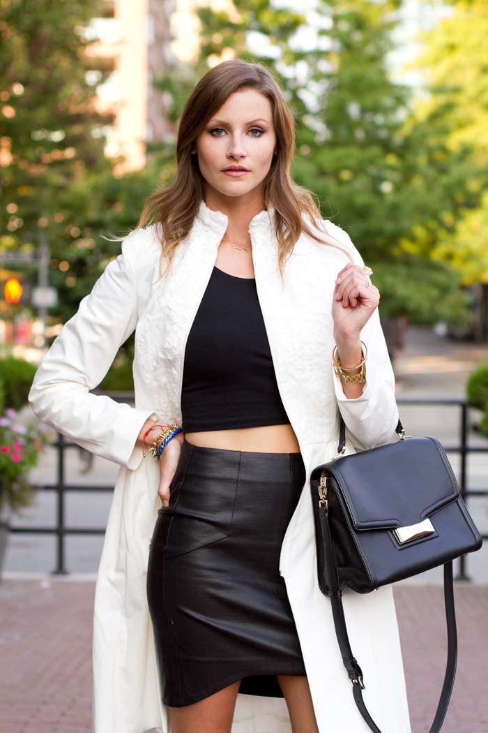 Vancouver Fashion Blogger, Alison Hutchinson, has styled a White Dawson & Deveraux Coat, gold bejeweled zara ballet flats, a One Fated Knight Tote and a Michael Kors Watch