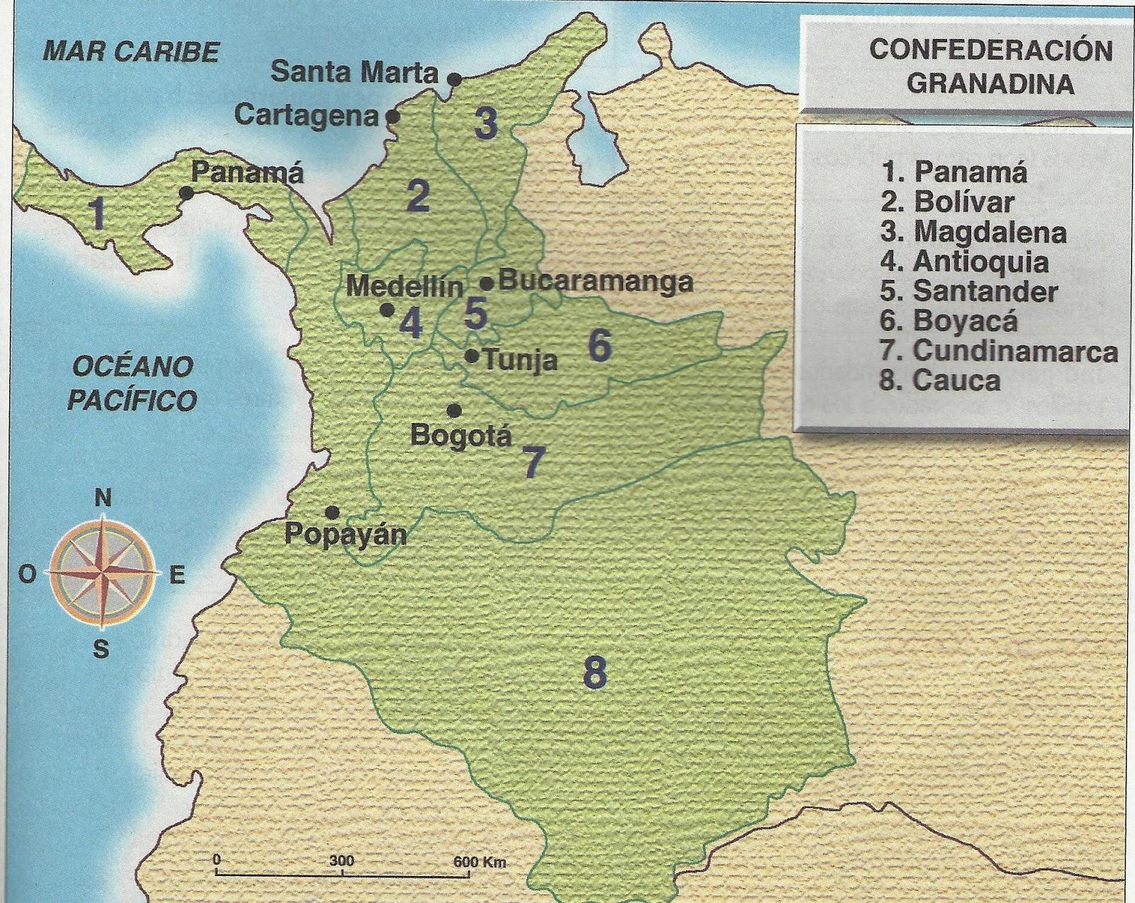 Mapa Politico Estados Unidos De Colombia.Aprende De Colombia Evolucion Colombiana Confederacion
