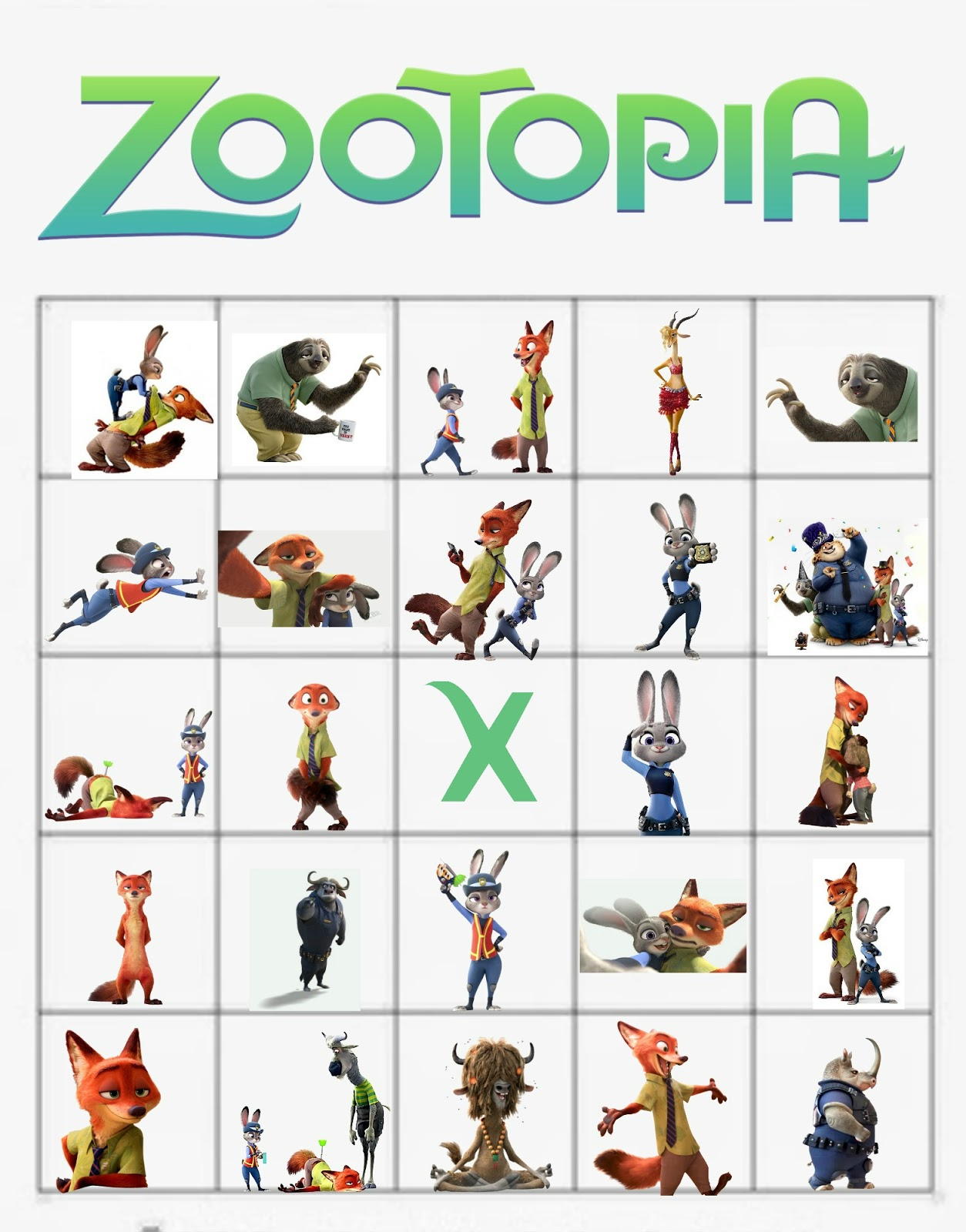 Musings Of An Average Mom Zootopia Bingo Cards
