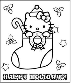 Colorear Hello Kitty con bota de navidad