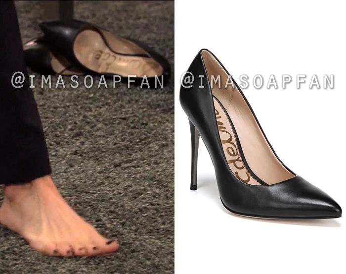 Margaux Dawson, Elizabeth Hendrickson, Black Pointy Toe High Heel Shoes, General Hospital, GH