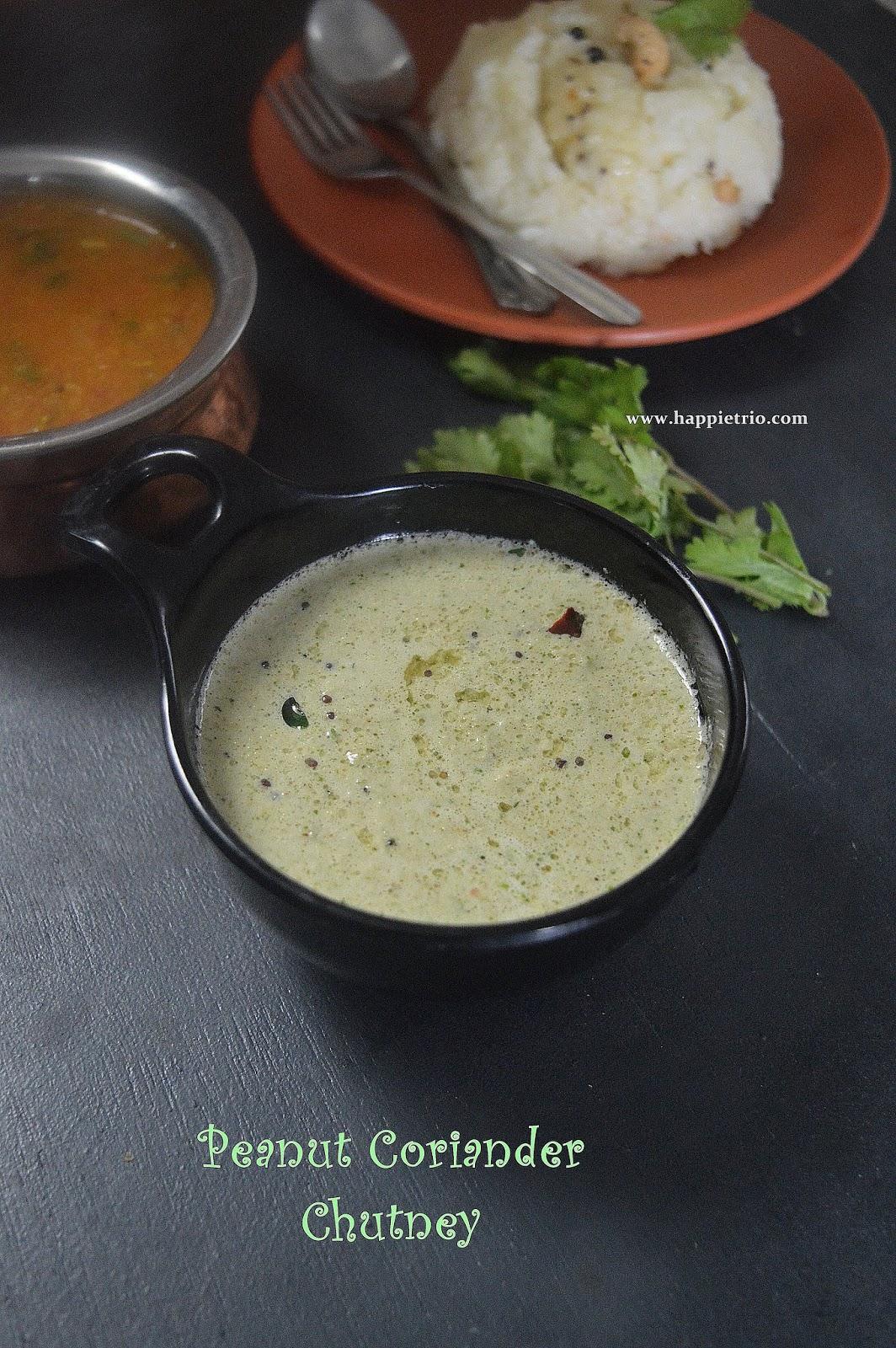 Peanut Coriander Chutney Recipe| Kothamalli Verkadalai Chutney