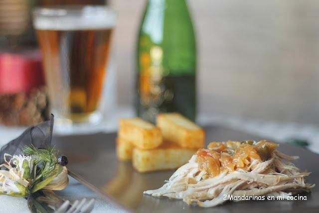 Pollo deshilachado con zarzuela de verduras a la cerveza con guarnición de patatas puente nuevo. Maridaje con cerveza Alhambra Reserva 1925