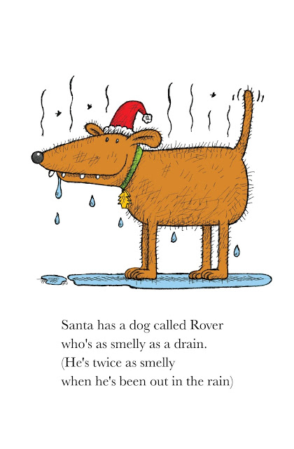 illustration of stinky santa's smelly dog,rover