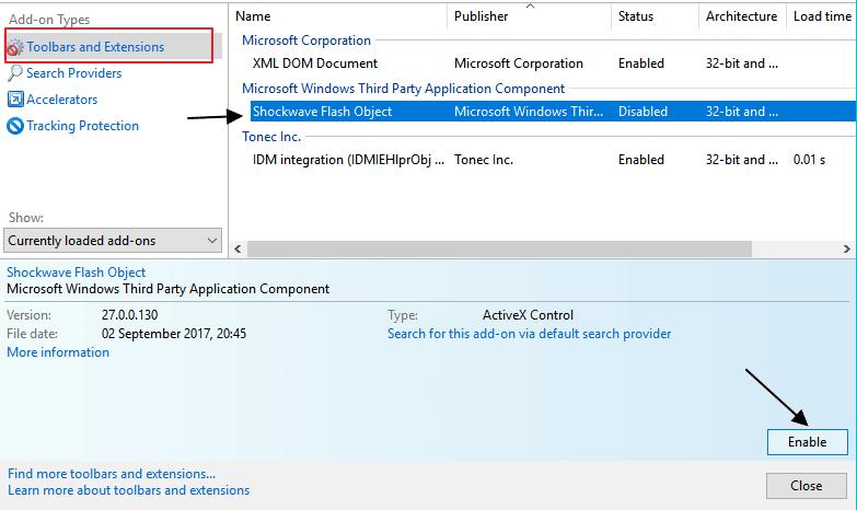 enable flash in Internet Explorer