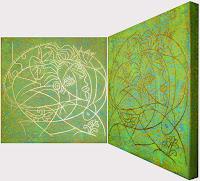 Abstrakte Malerei Der goldene Strich