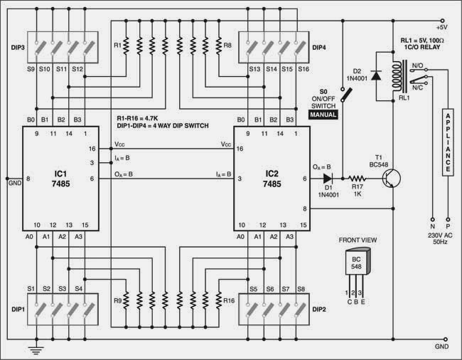 8-Digit Code Lock for Appliance Switching Circuit Diagram