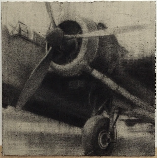Bomber, drawing, WW2 art, charcoal, plane