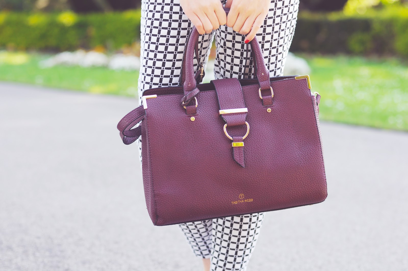 oxblood purple faux leather handbag, tabitha webb avon handbag