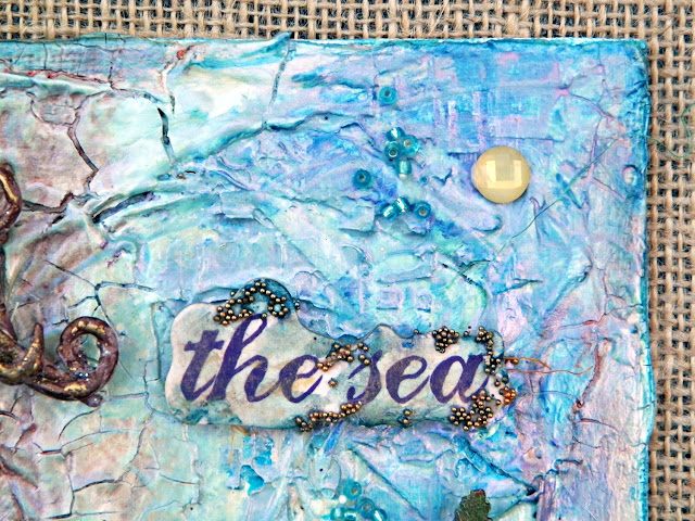"The Sea Mermaid Canvas by Lisa Novogrodski for Scraps of Elegance using the August Kit ""By The Sea"""