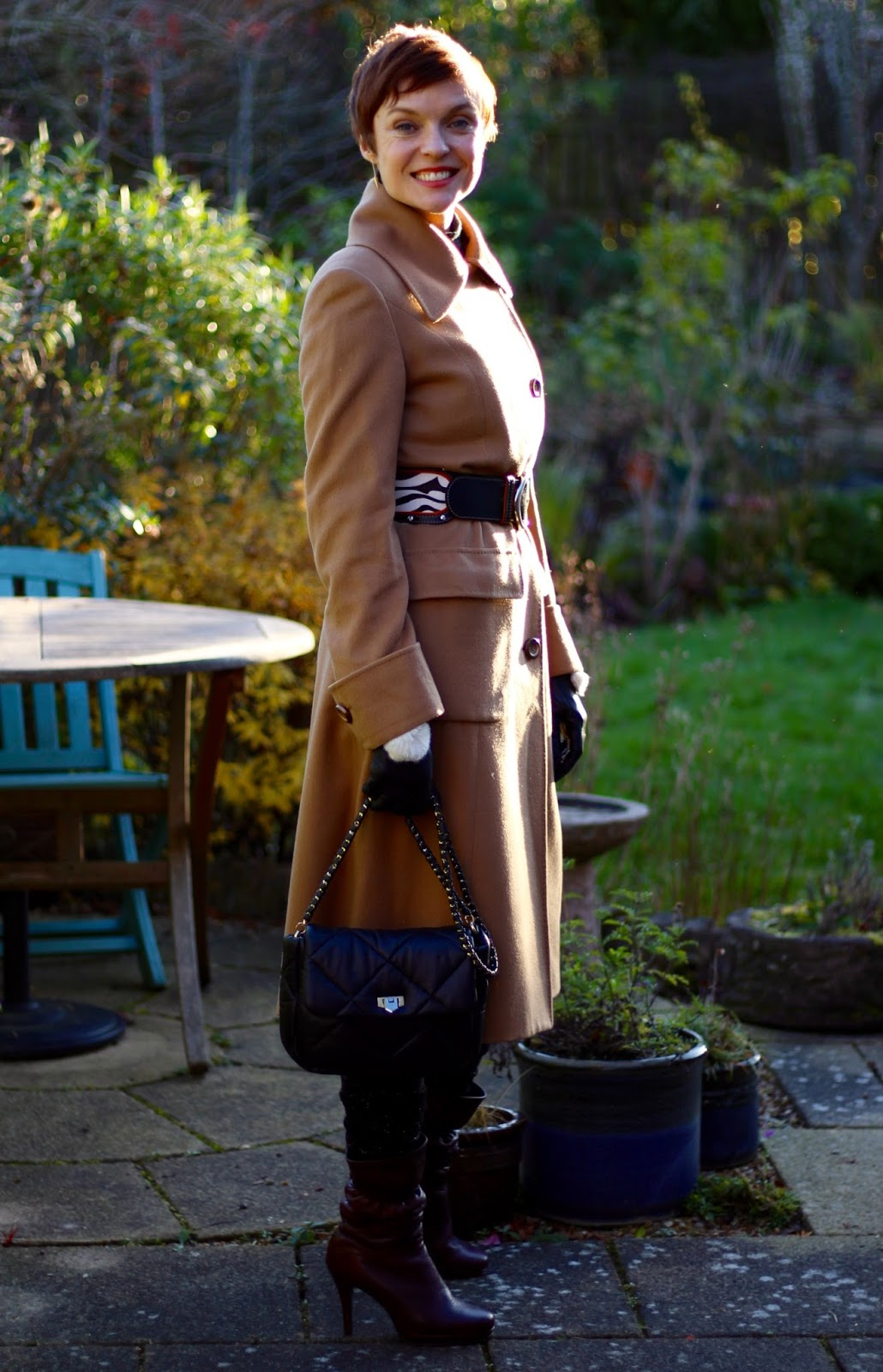 Camel Cashmere Coat and a Wide Zebra Belt | Classic style | Fake Fabulous