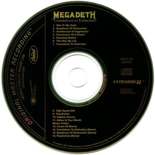 MEGADETH - Countdown To Extinction +4 [Ltd Edition MFSL Gold CD remastered] disc