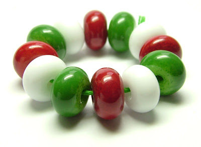 Christmas lampwork glass beads