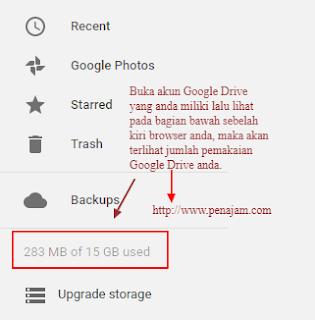 cara mengetahui kapasitas pemakaian pada akun google drive