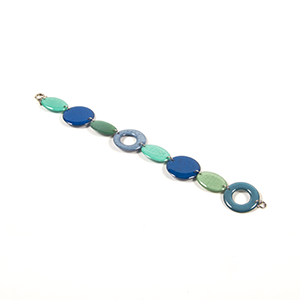 blue and green paper, resin and silver bracelet