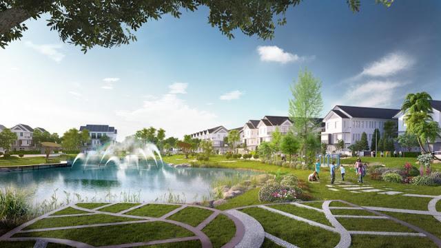 Hồ nước nhỏ điều hòa không khí bên biệt thự Louis City