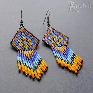 купить серьги в этническом стиле дизайнер украшений из бисера