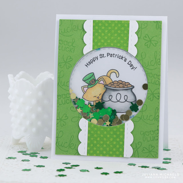 Happy St. Patrick's Day Shaker Card by Juliana Michaels featuring Newton's Nook Designs Newton's Pot of Gold Stamp Set