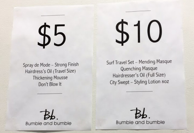 Bumble and Bumble sample sale prices
