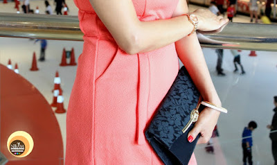 Wearing AND India, Coral bodycon dress with pocket designs.OOTD, FOTD, NBAM