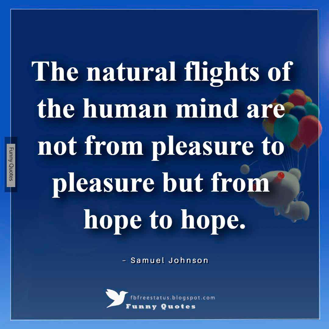 """The natural flights of the human mind are not from pleasure to pleasure but from hope to hope."" ~Samuel Johnson"