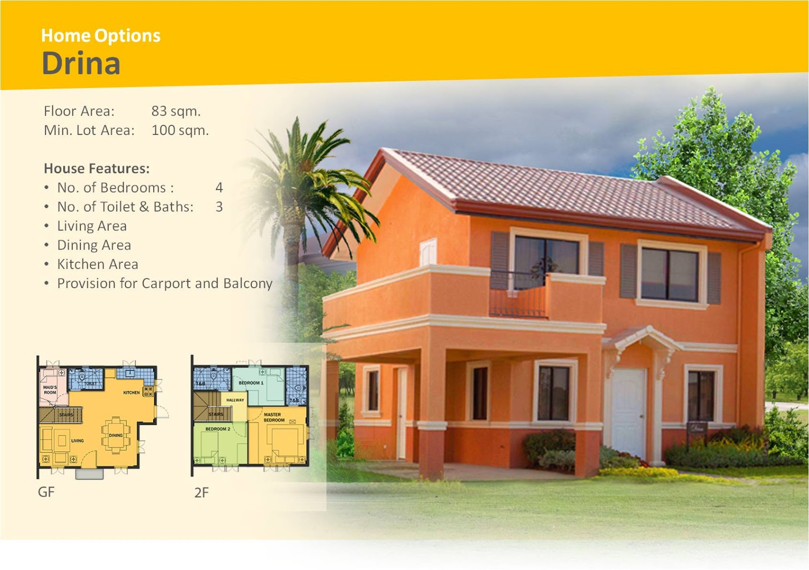 Camella silang tagaytay drina house and lot for sale in tagaytay city - Drina House Model Lot Area 100 Sqm Bigger Lot Sizes Available Floor Area 83 Sqm 13 Sqm For Balcony Bedrooms 4 Toilet Bath 3 Carport 1