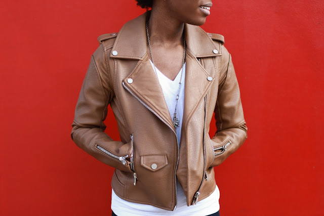 ladies leather jacket, staple piece
