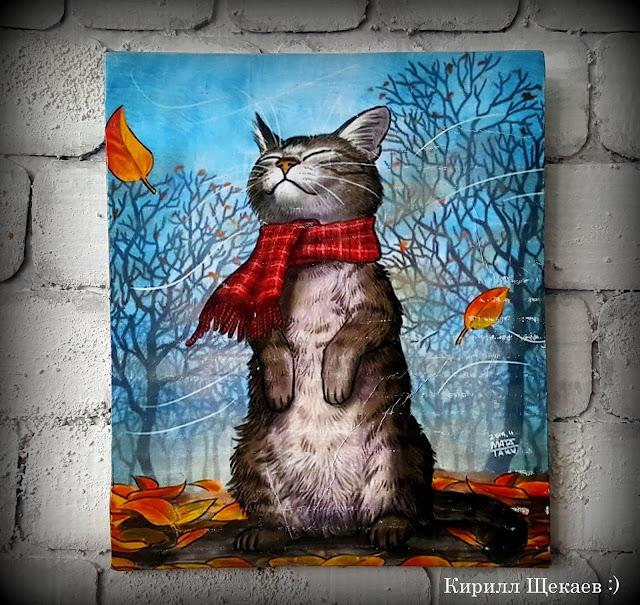 панно, декупаж, кот, листья, осень, картинка