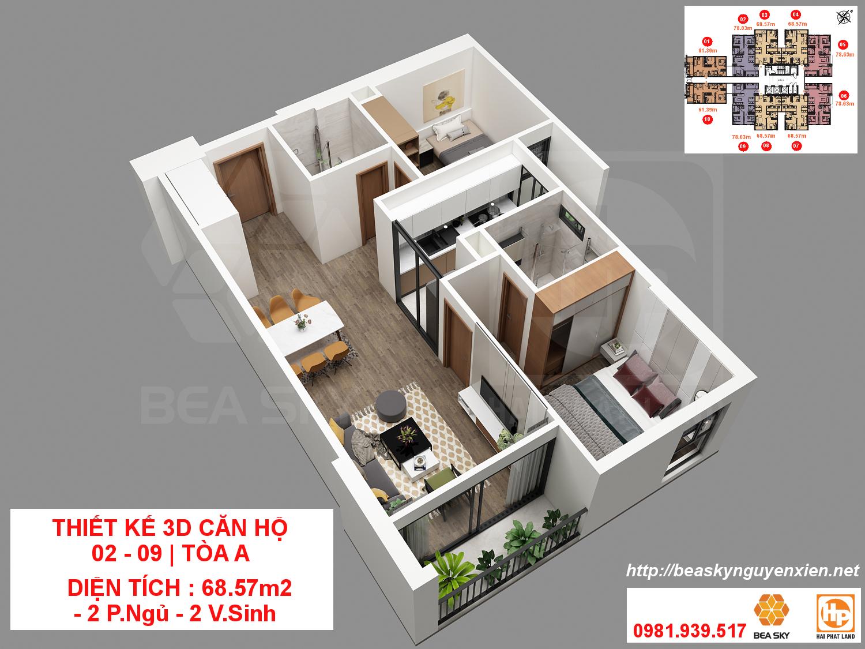 Thiết kế căn hộ 3D Bea Sky Nguyễn Xiển tòa A | Căn 04 - 08