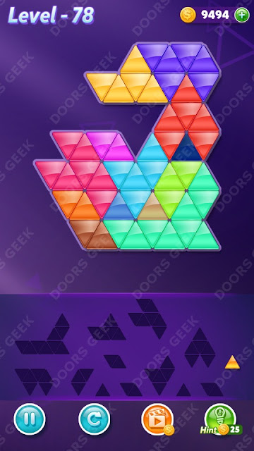 Block! Triangle Puzzle Champion Level 78 Solution, Cheats, Walkthrough for Android, iPhone, iPad and iPod