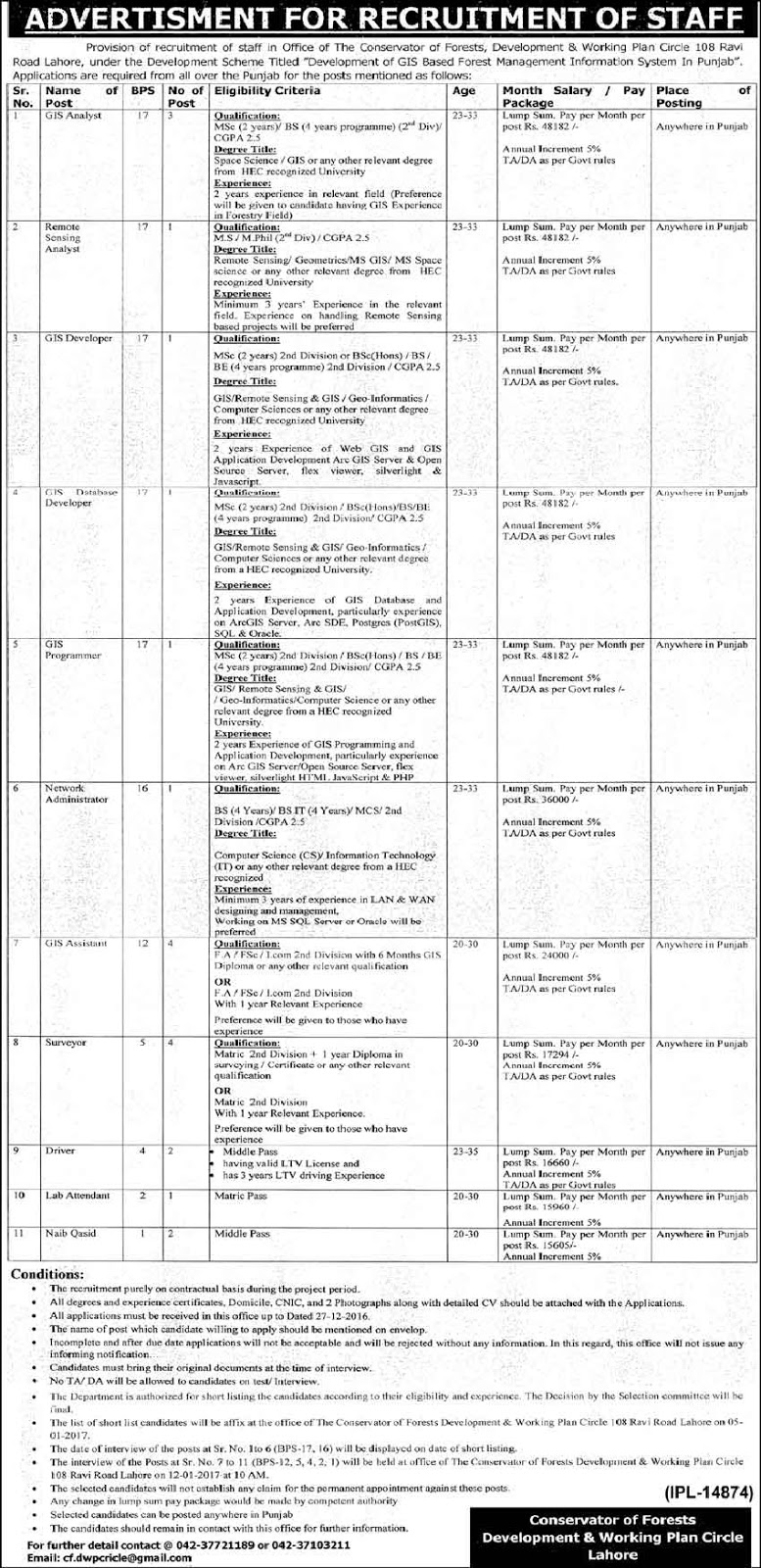 Forest Development And Working Plan Circle Jobs