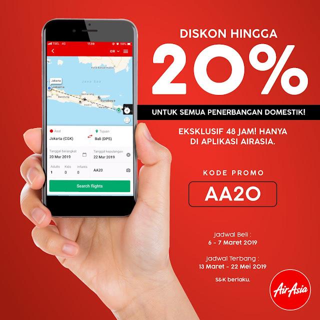 #AirAsia - #Promo Diskon Hingga 20% Semua Rute di Aplikasi AirAsia (s.d 07 Maret 2019)