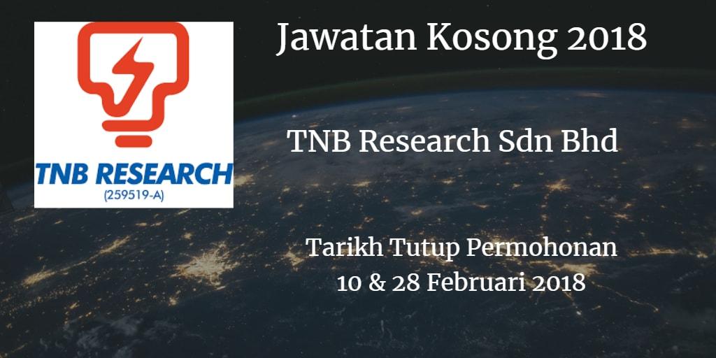 Jawatan Kosong TNB Research Sdn Bhd 10 & 28 Februari 2018