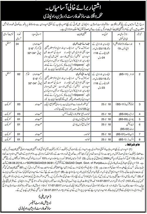 Jobs in Forest Department South Forest Division Rawalpindi 5 July 2017.