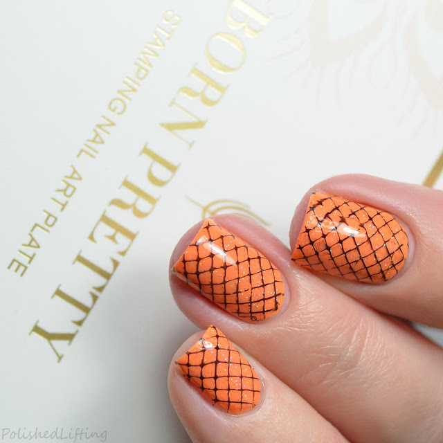 orange fishnet nail art design