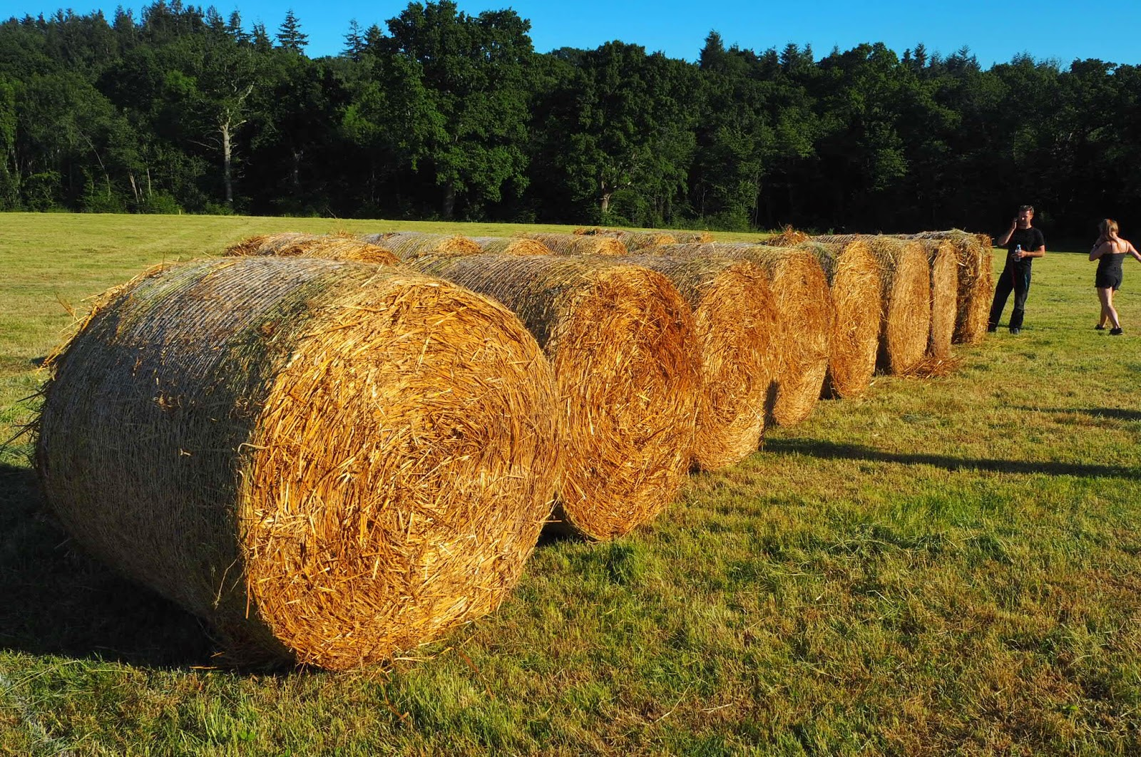 running the row of hay bales
